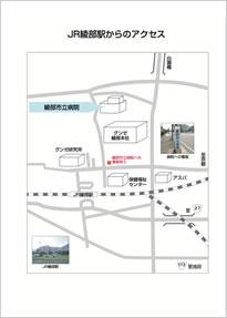 >JR綾部駅からのアクセス地図(近景)